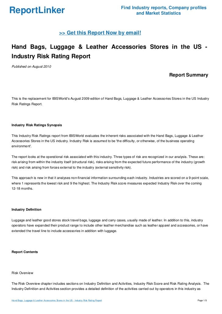 Industry risk rating report