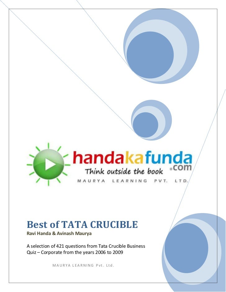 Best of TATA CRUCIBLERavi Handa & Avinash MauryaA selection of 421 questions from Tata Crucible BusinessQuiz – Corporate f...