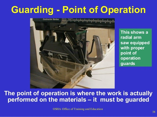 Guarding - Point of Operation This shows a radial arm saw equipped with proper point of operation guards  The point of ope...