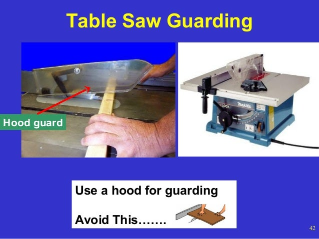 Table Saw Guarding  Hood guard  Use a hood for guarding AvoidOSHA Office of Training and Education This…….  42