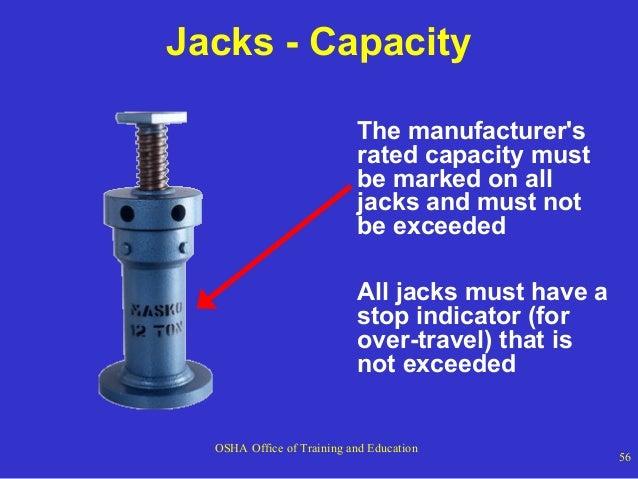 Jacks - Capacity The manufacturer's rated capacity must be marked on all jacks and must not be exceeded All jacks must hav...