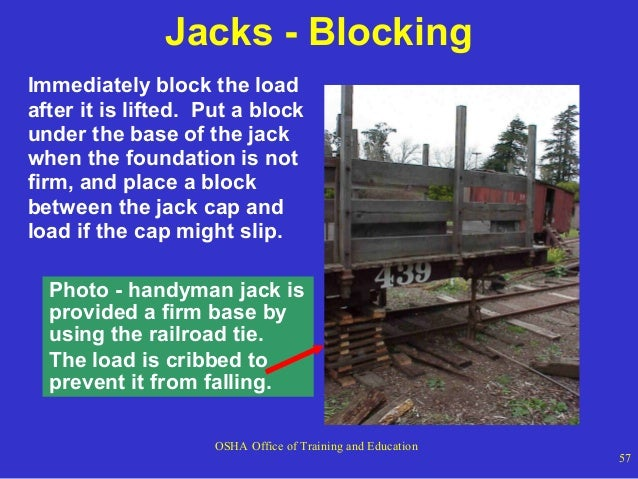 Jacks - Blocking Immediately block the load after it is lifted. Put a block under the base of the jack when the foundation...
