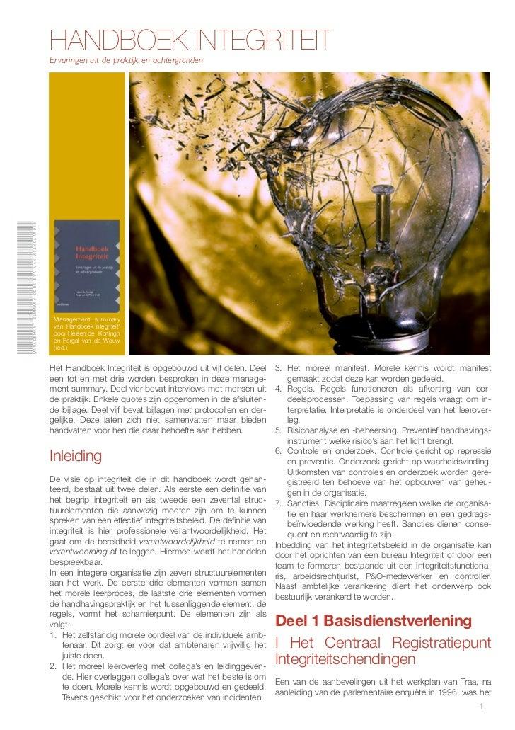 Management summary door Eva van Wijngaarden                                              HANDBOEK INTEGRITEIT             ...