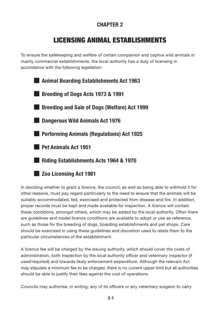 CHAPTER 2                   LICENSING ANIMAL ESTABLISHMENTS To ensure the safekeeping and welfare of certain companion and...