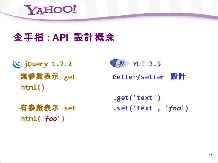 金手指 : API 設計概念 jQuery 1.7.2        YUI 3.5無參數表示 get       Getter/setter 設計html()                .get(text)有參數表示 set       ...