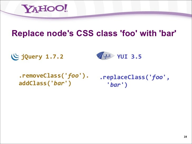 Replace nodes CSS class foo with bar  jQuery 1.7.2               YUI 3.5 .removeClass(foo).   .replaceClass(foo, addClass(...