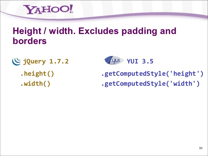 Height / width. Excludes padding andborders  jQuery 1.7.2           YUI 3.5 .height()         .getComputedStyle(height) .w...