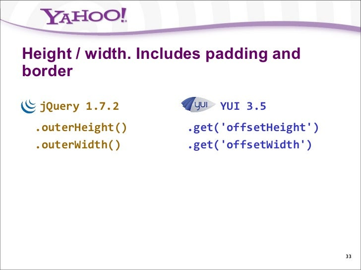 Height / width. Includes padding andborder  jQuery 1.7.2            YUI 3.5 .outerHeight()      .get(offsetHeight) .outerW...