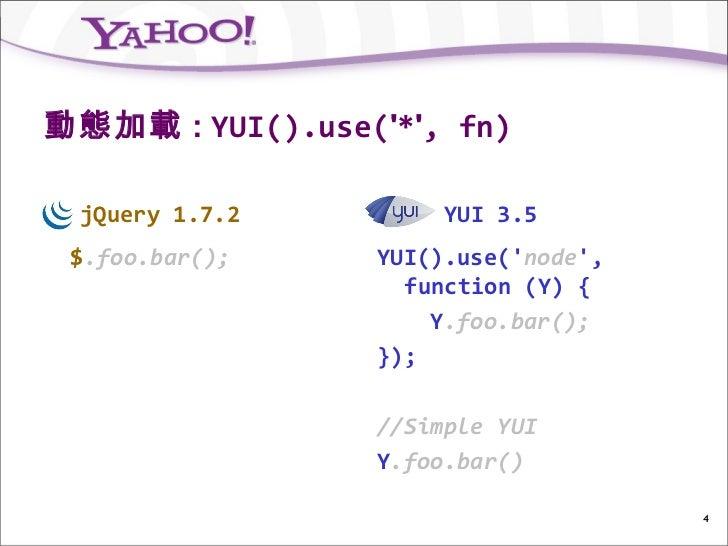 動態加載 : YUI().use(*, fn) jQuery 1.7.2         YUI 3.5 $.foo.bar();    YUI().use(node,                   function (Y) {     ...