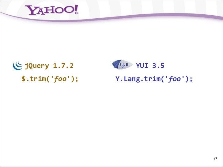jQuery 1.7.2          YUI 3.5$.trim(foo);   Y.Lang.trim(foo);                                       47