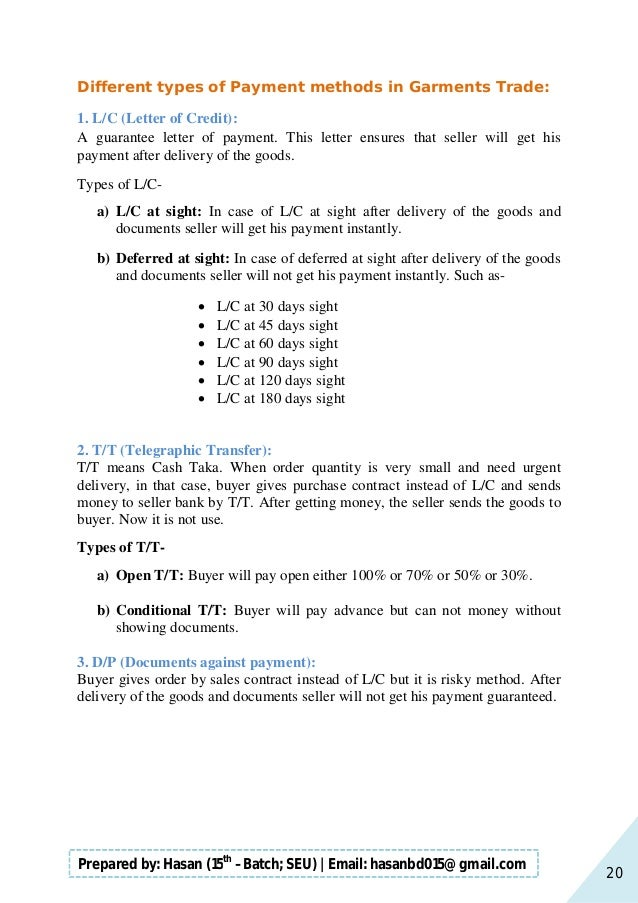 20 Prepared by: Hasan (15th –Batch; SEU)   Email: hasanbd015@gmail.com Different types of Payment methods in Garments Trad...