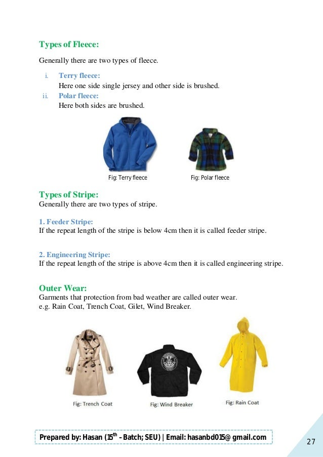 27 Prepared by: Hasan (15th –Batch; SEU)   Email: hasanbd015@gmail.com Types of Fleece: Generally there are two types of f...