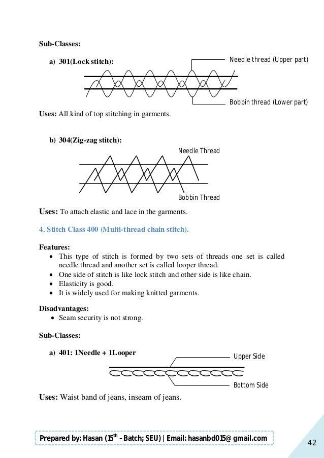 42 Prepared by: Hasan (15th –Batch; SEU)   Email: hasanbd015@gmail.com Sub-Classes: a) 301(Lock stitch): Uses: All kind of...