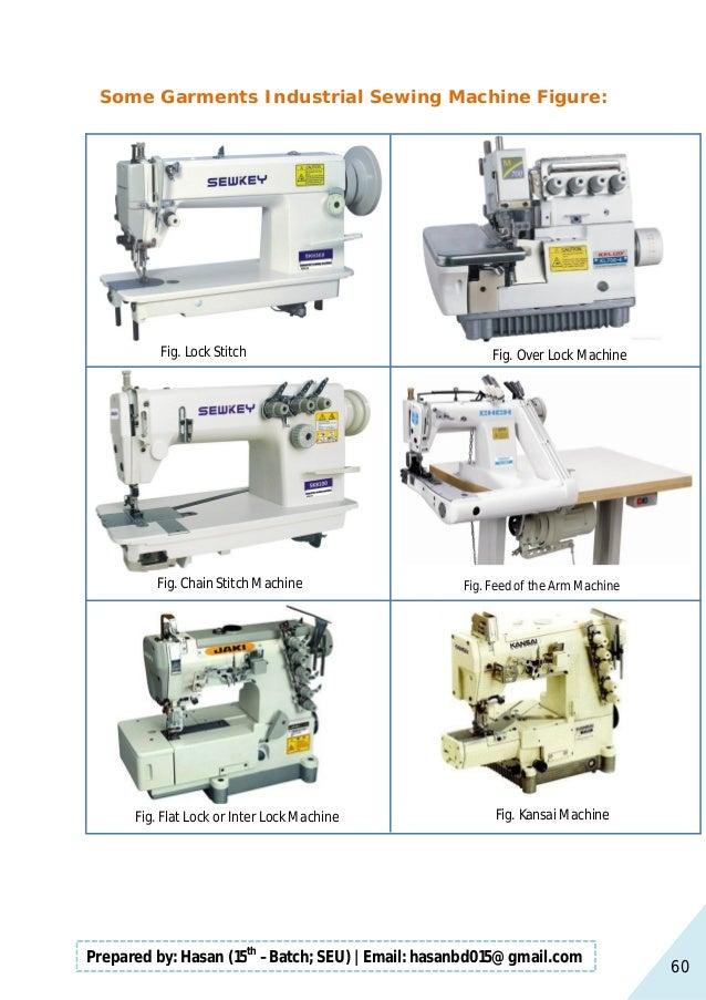 60 Prepared by: Hasan (15th –Batch; SEU)   Email: hasanbd015@gmail.com Some Garments Industrial Sewing Machine Figure: Fig...
