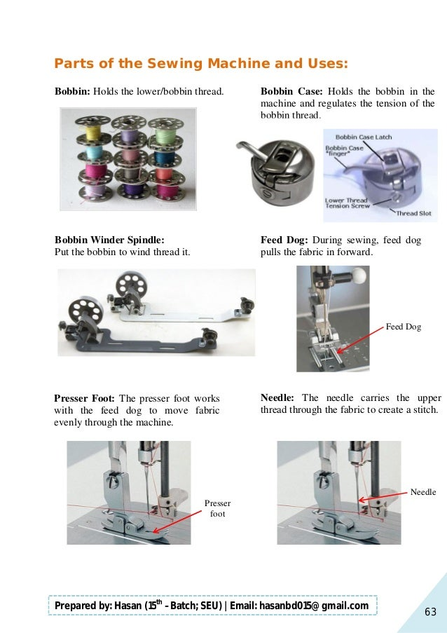 63 Prepared by: Hasan (15th –Batch; SEU)   Email: hasanbd015@gmail.com Parts of the Sewing Machine and Uses: Bobbin: Holds...
