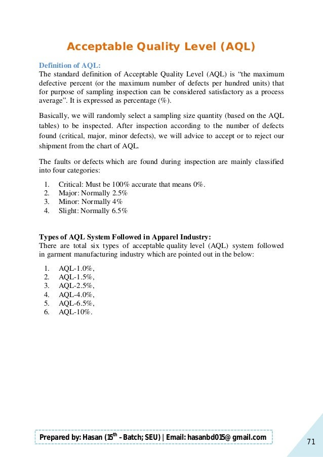 71 Prepared by: Hasan (15th –Batch; SEU)   Email: hasanbd015@gmail.com Acceptable Quality Level (AQL) Definition of AQL: T...