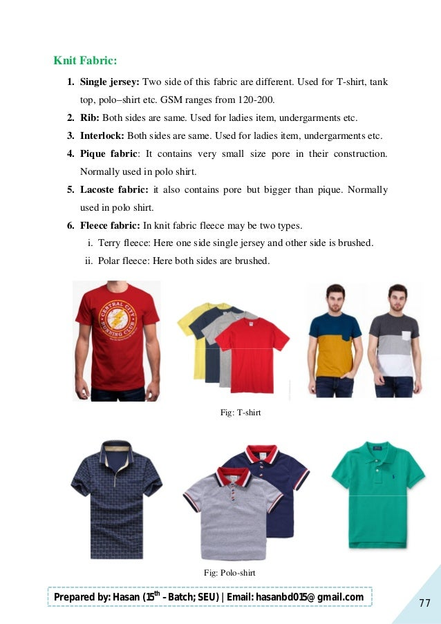 77 Prepared by: Hasan (15th –Batch; SEU)   Email: hasanbd015@gmail.com Knit Fabric: 1. Single jersey: Two side of this fab...