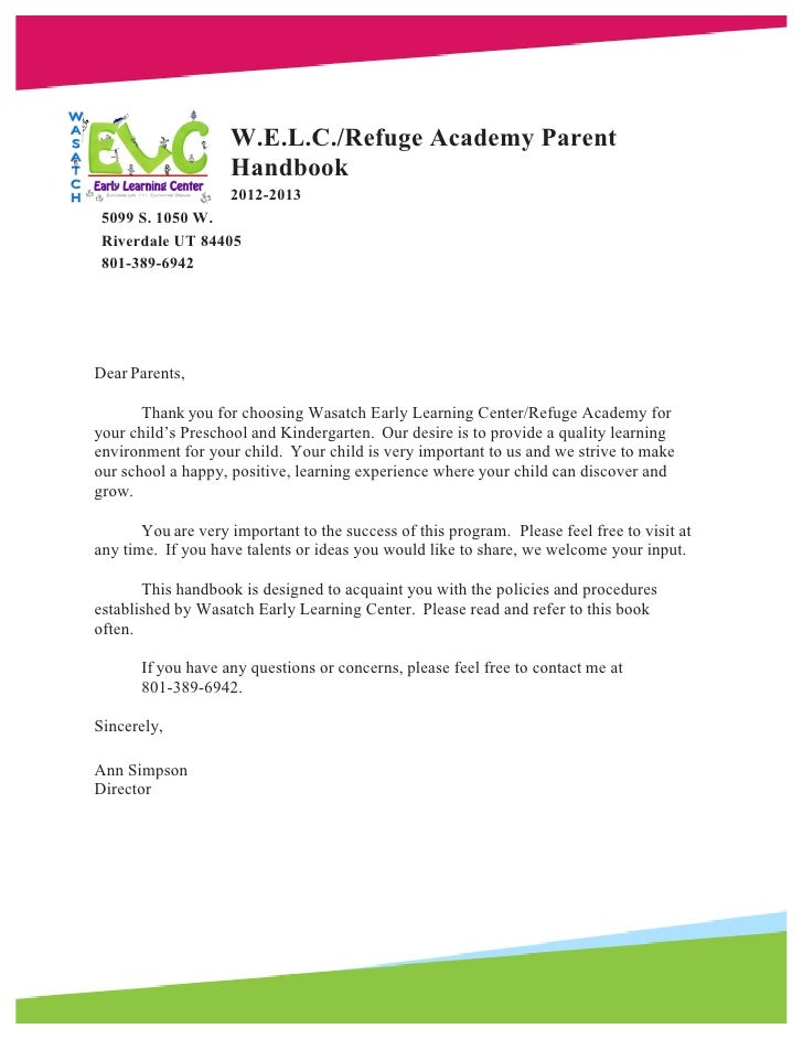 W.E.L.C./Refuge Academy Parent                    Handbook                    2012-2013 5099 S. 1050 W. Riverdale UT 84405...