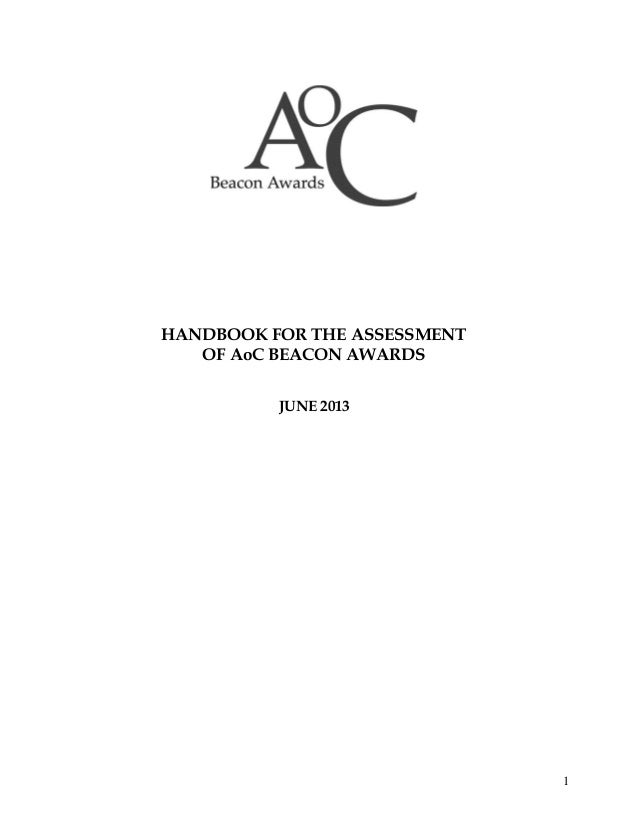 HANDBOOK FOR THE ASSESSMENT OF AoC BEACON AWARDS JUNE 2013  1