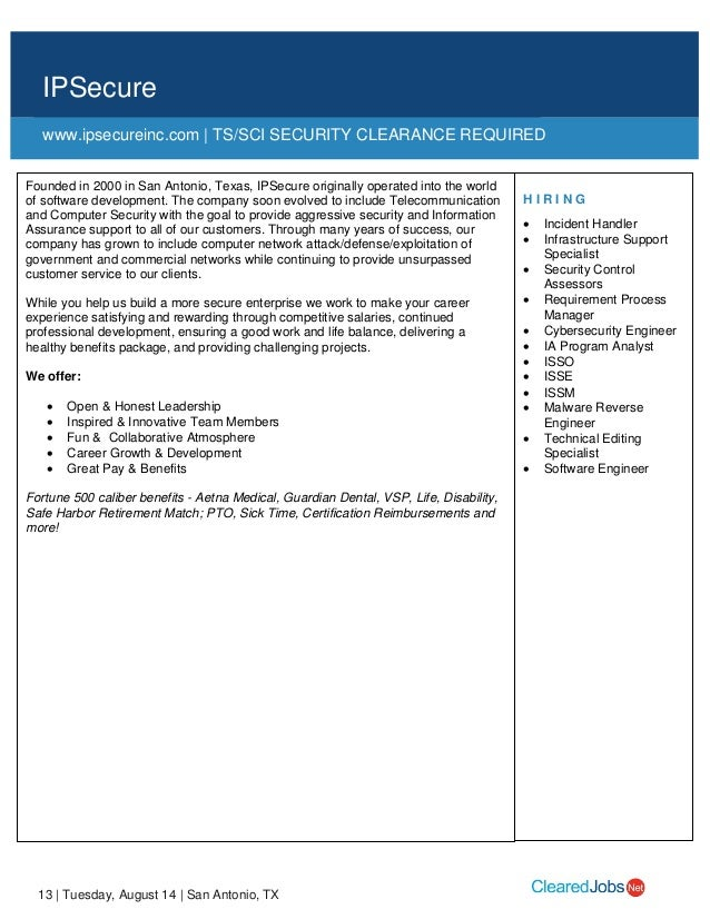 CyberTexas Job Fair Job Seeker Handbook August 14, San Antonio, TX