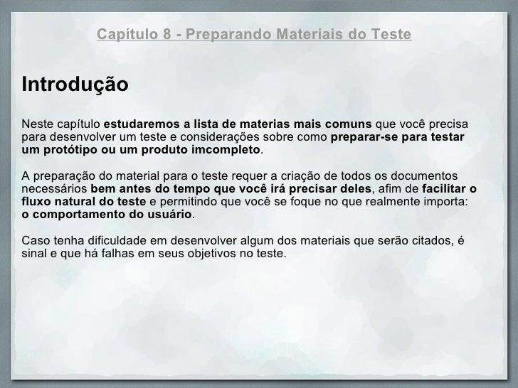 Handbook Usability Testing - Capitulo 8