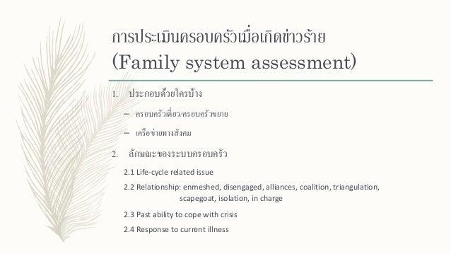 การประเมินครอบครัวเมื่อเกิดข่าวร้าย (Family system assessment) 2. ลักษณะของระบบครอบครัว 2.5 Resources 2.6 Risk of troubled...