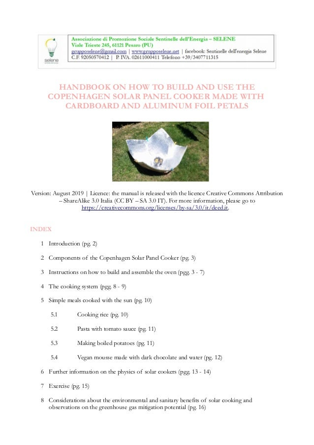 HANDBOOK ON HOW TO BUILD AND USE THE COPENHAGEN SOLAR PANEL COOKER MADE WITH CARDBOARD AND ALUMINUM FOIL PETALS Version: A...