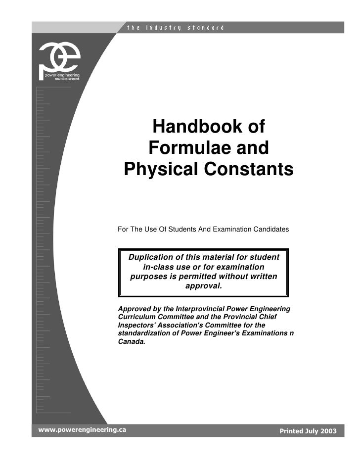 Handbook of                         Formulae and                       Physical Constants                       For The Us...