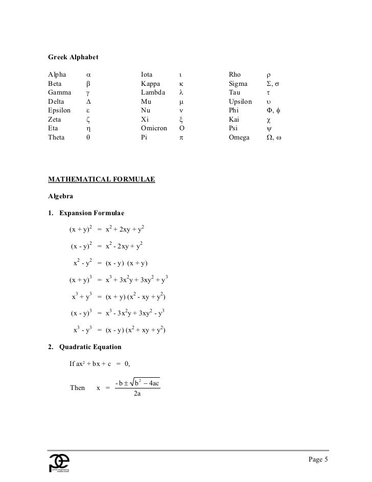 Handbook Of Formulae And Constants