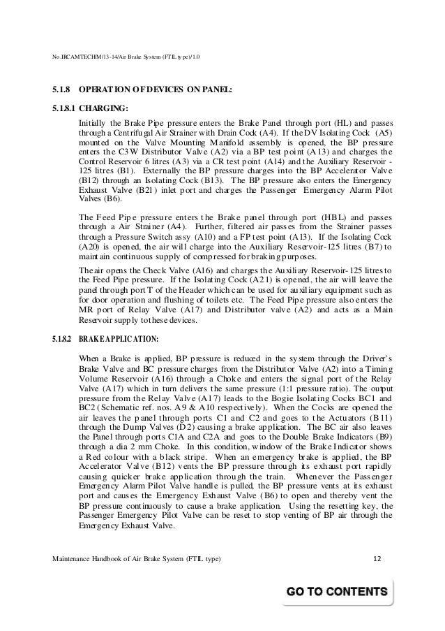 Handbook on maintenance of air brake system in lhb coaches