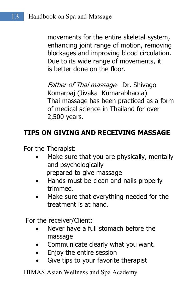 13    Handbook on Spa and Massage            movements for the entire skeletal system,            enhancing joint range of...