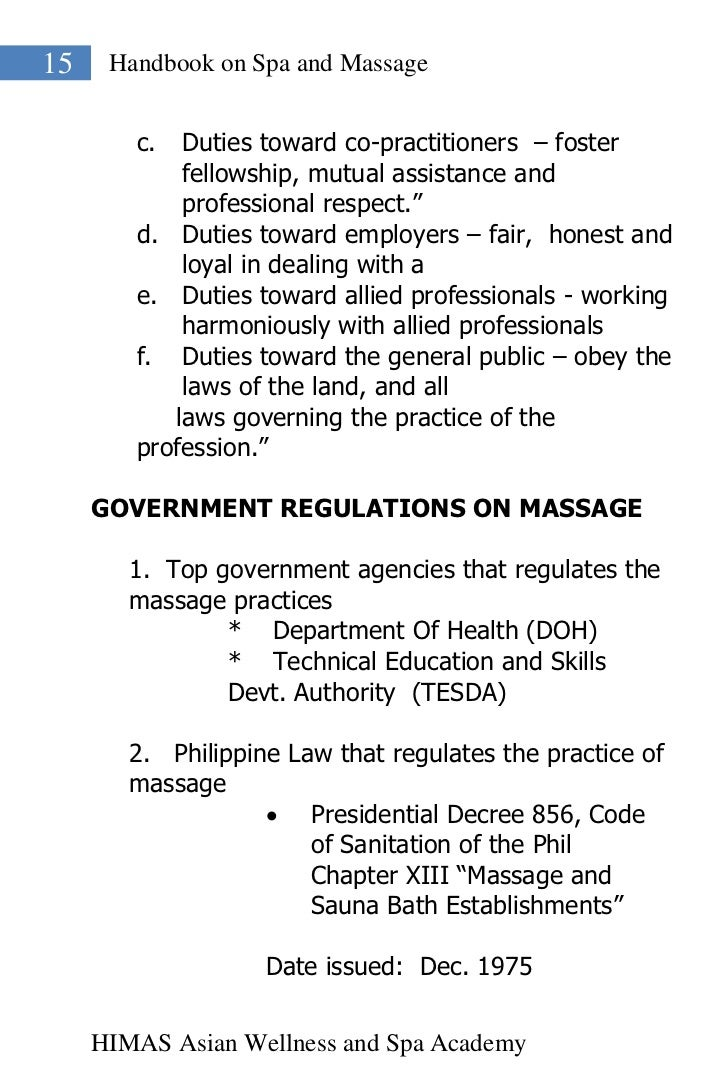 15    Handbook on Spa and Massage        c.  Duties toward co-practitioners – foster            fellowship, mutual assista...