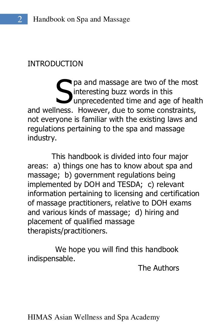 2    Handbook on Spa and Massage    INTRODUCTION            S                  pa and massage are two of the most         ...