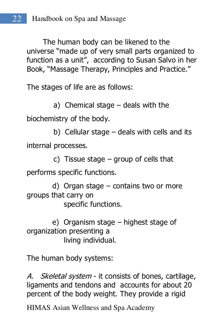 """22    Handbook on Spa and Massage          The human body can be likened to the     universe """"made up of very small parts ..."""