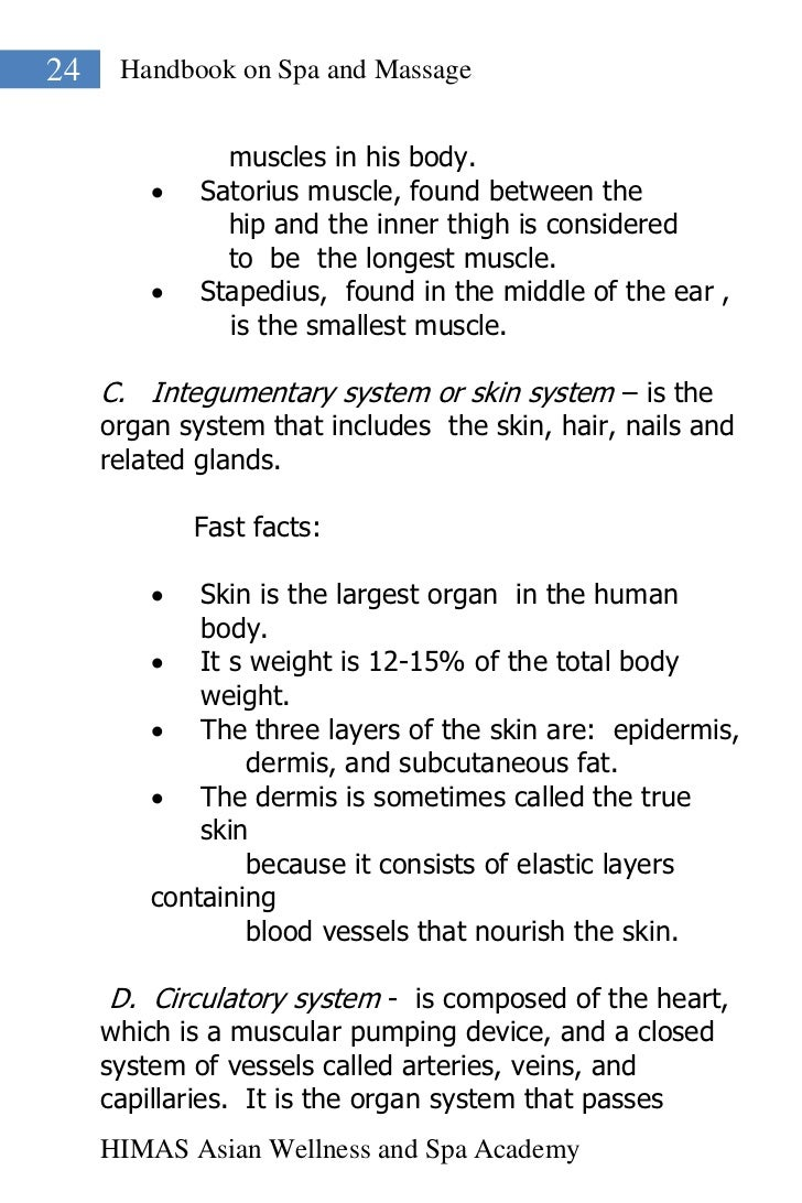 24    Handbook on Spa and Massage               muscles in his body.            Satorius muscle, found between the       ...