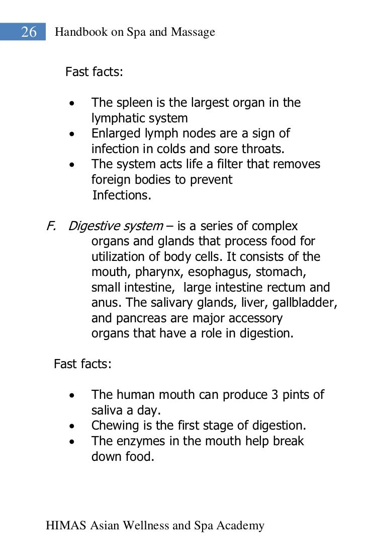 26    Handbook on Spa and Massage        Fast facts:            The spleen is the largest organ in the             lympha...