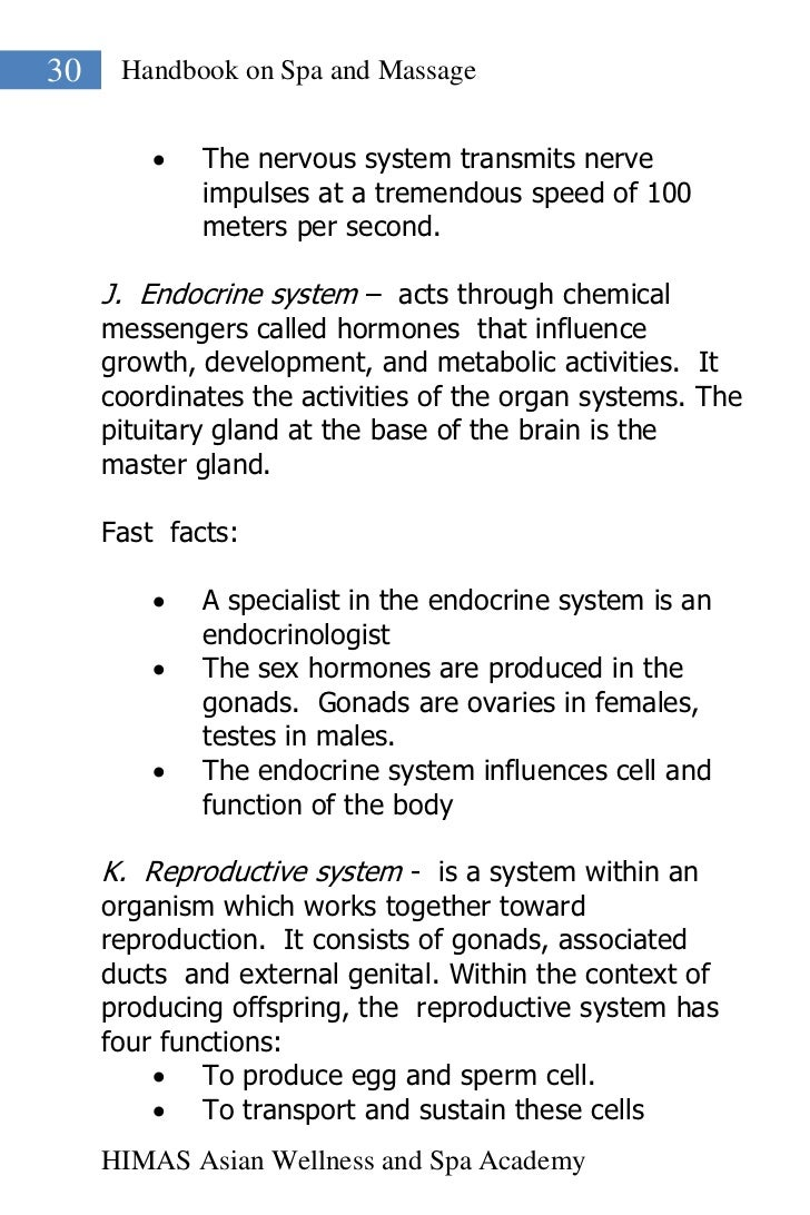 30    Handbook on Spa and Massage            The nervous system transmits nerve             impulses at a tremendous spee...