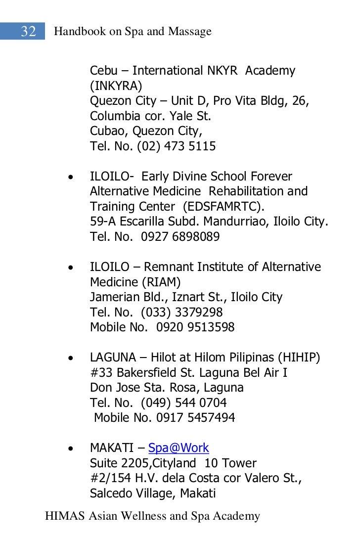 32    Handbook on Spa and Massage            Cebu – International NKYR Academy            (INKYRA)            Quezon City ...