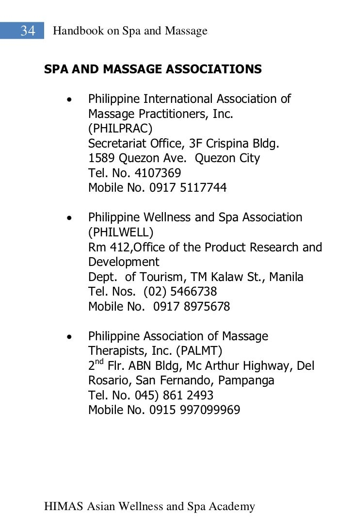 34    Handbook on Spa and Massage     SPA AND MASSAGE ASSOCIATIONS           Philippine International Association of     ...