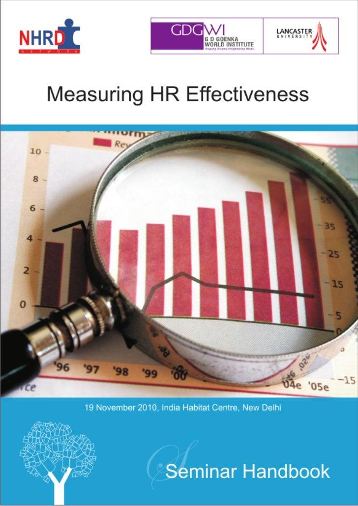 NHRDN-GDGWI's Seminar Handbook on Measuring HR Effectiveness