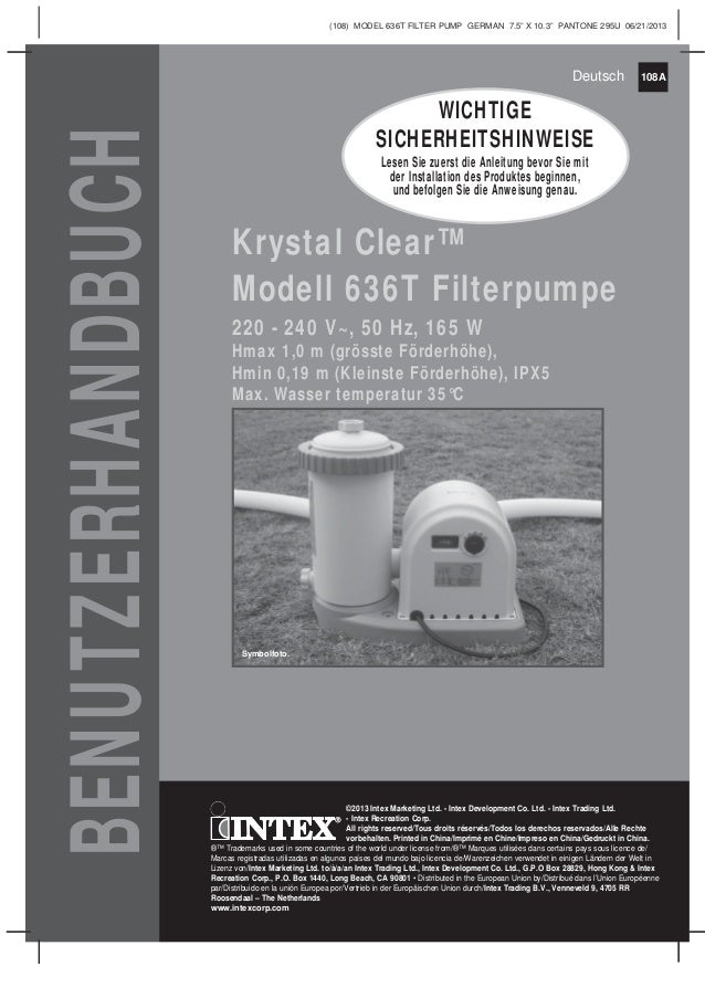 Handbuch filterpumpe model636-t - Intex Pool Shop