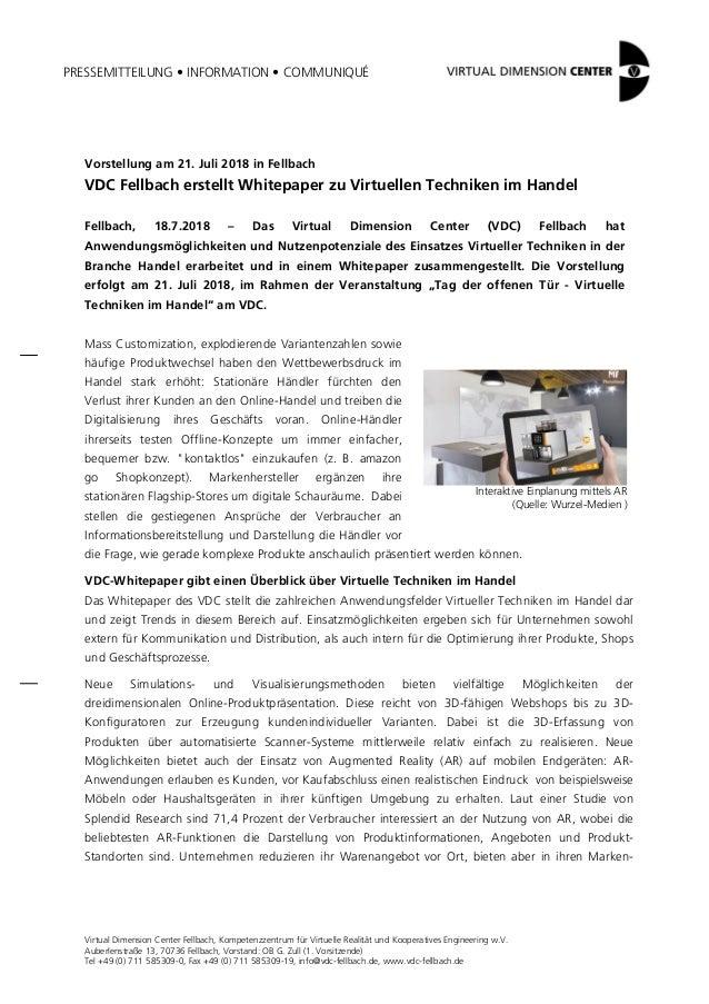 PRESSEMITTEILUNG • INFORMATION • COMMUNIQUÉ Virtual Dimension Center Fellbach, Kompetenzzentrum für Virtuelle Realität und...
