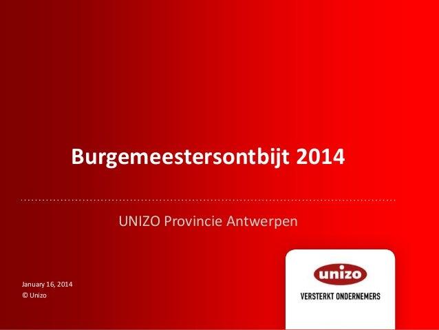 Burgemeestersontbijt 2014 UNIZO Provincie Antwerpen  January 16, 2014 © Unizo