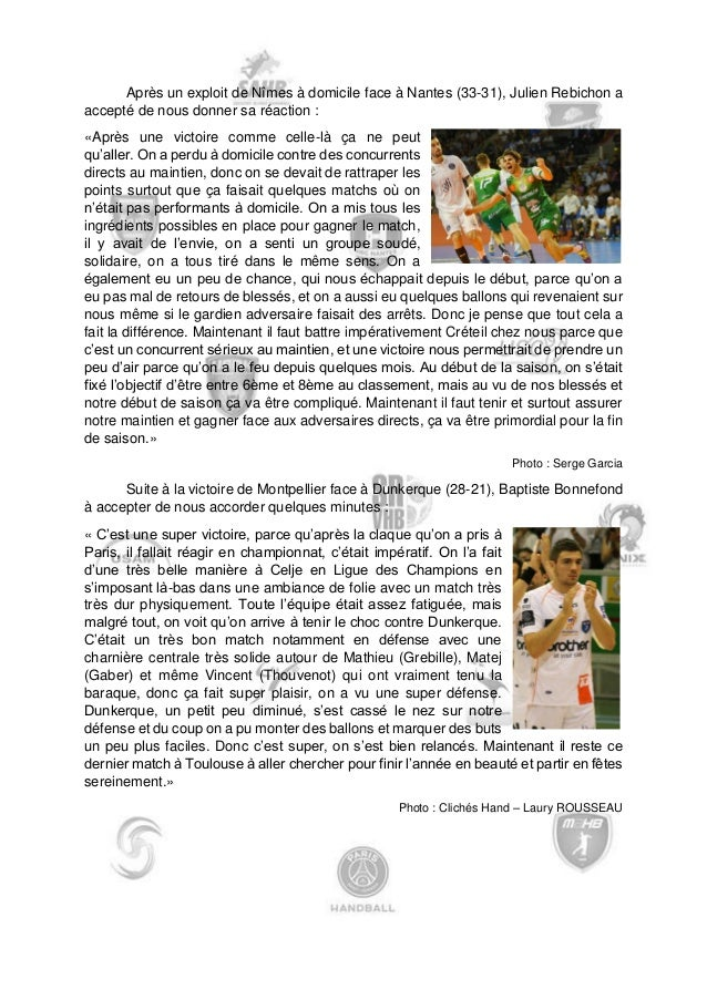 Journée 13  Mulhouse  28  -  26  Besançon  Massy  25  -  24  Ivry  Cherbourg  22  -  20  Angers  Dijon  22  -  33  Billere...