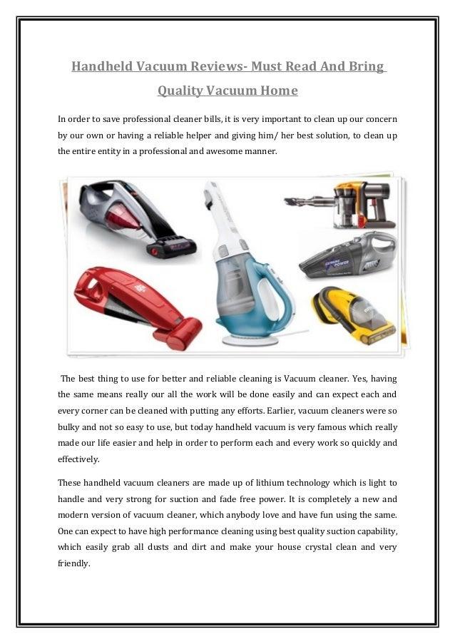 Handheld vacuum reviews must read and bring quality vacuum ...  Handheld