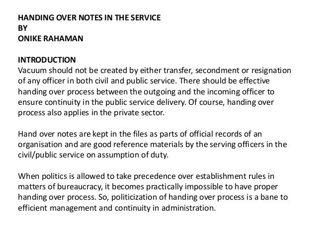 HANDING OVER NOTES IN THE SERVICE BY ONIKE RAHAMAN INTRODUCTION Vacuum  Should Not Be Created By ...