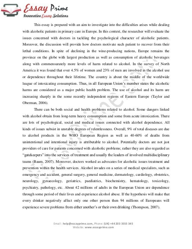 handling alcoholic patients essay sample 2 this essay