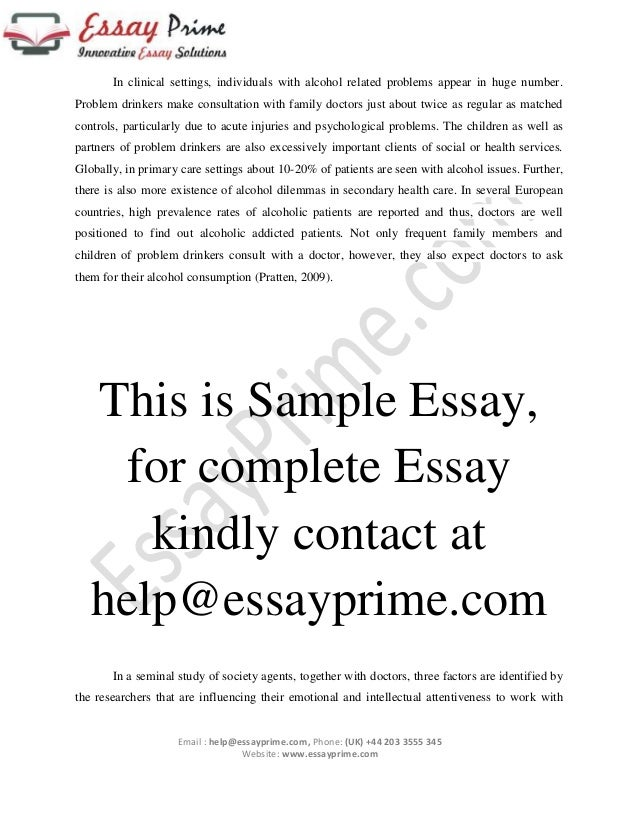 handling alcoholic patients essay sample  3