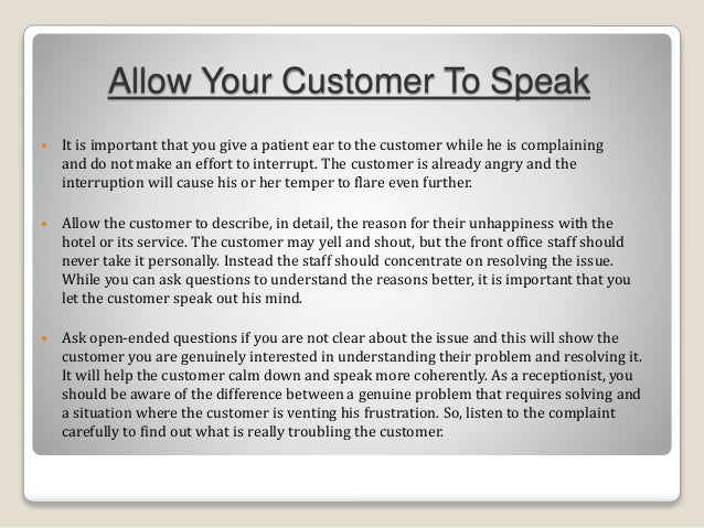 How To Handle Guest With Complaints In Hotel