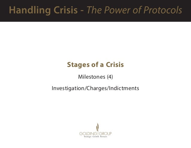 Stages of a Crisis Milestones (4) Investigation/Charges/Indictments